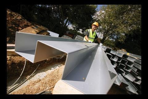 Prefabricated galvanised steel beams